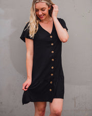 Grace Linen Dress - Black