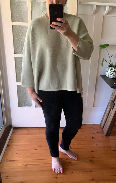 Ribbed Knit Jumper - Sage