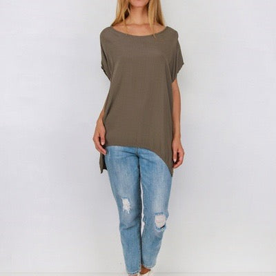 Relaxed flattering fit and falls beautifully. Light weight fabric, capped shoulder, and scoop neckline. Black, Khaki or White