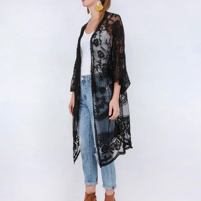 Black open front lace kimono, sits around mid leg length, wide floaty sleeve, lace detailing, pull on style