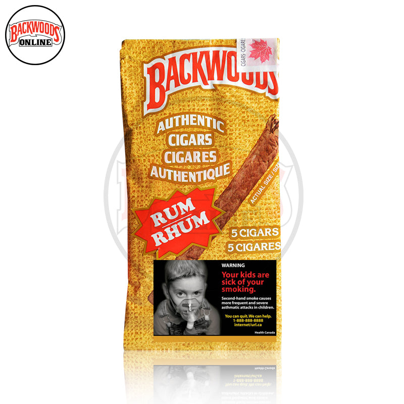 Rum Backwoods Cigars rare, box of 40, 8 packs of 5 cigars, free shipping to USA, UK, Canada, online for sale with best, wholesale, discount price and reviews.