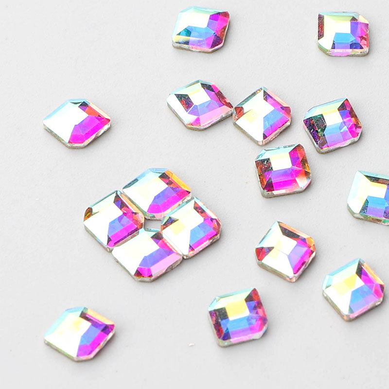 Concise Hexagon Shape Crystal AB Flat Back Fancy Rhinestones