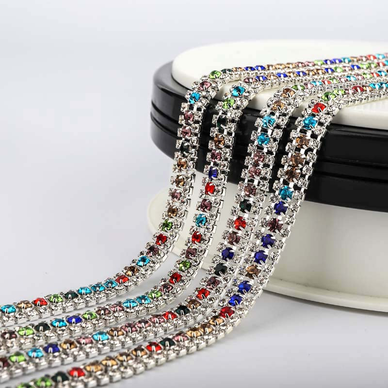 10 Yards Crystal & Mix Colors Rhinestones Close Cup Chain -  3 Rows Silver Base