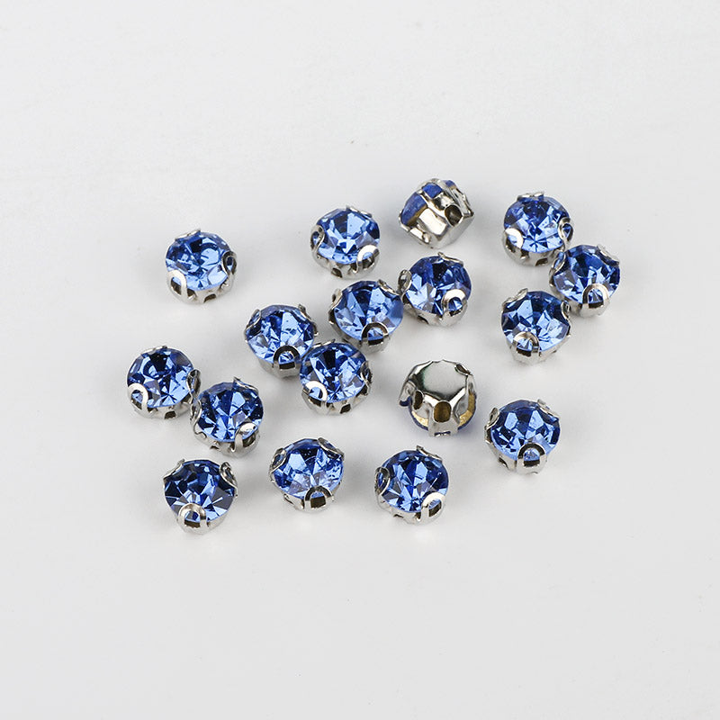 Light Blue Sewing 3D Claw Rhinestones Silver Base