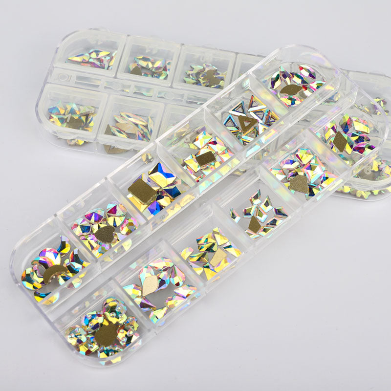 120 PCS Mixed Shapes Glass Crystal AB Fancy Rhinestones For Nail Art - HZ1202
