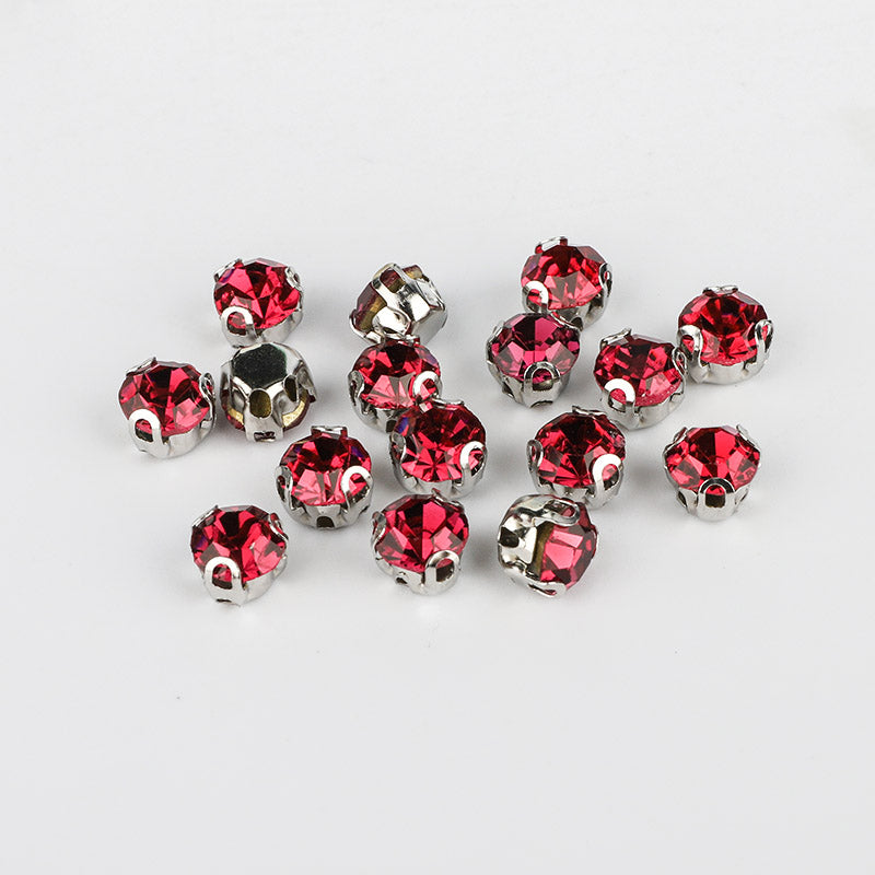 Fuchsia Sewing 3D Claw Rhinestones Silver Base