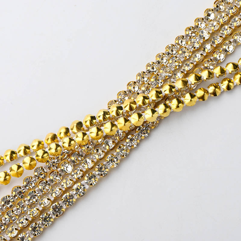 10 Yards Crystal Glass Rhinestones Banding 1 Row Round- Golden Setting