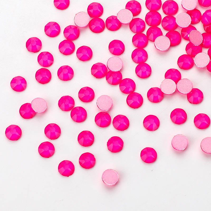 Pink Neon Glass Flat Back Glue-On Rhinestones 16 Cut Facets