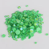Mixed Sizes Mocha Green FlatBack Luminous Rhinestones For Nail Art