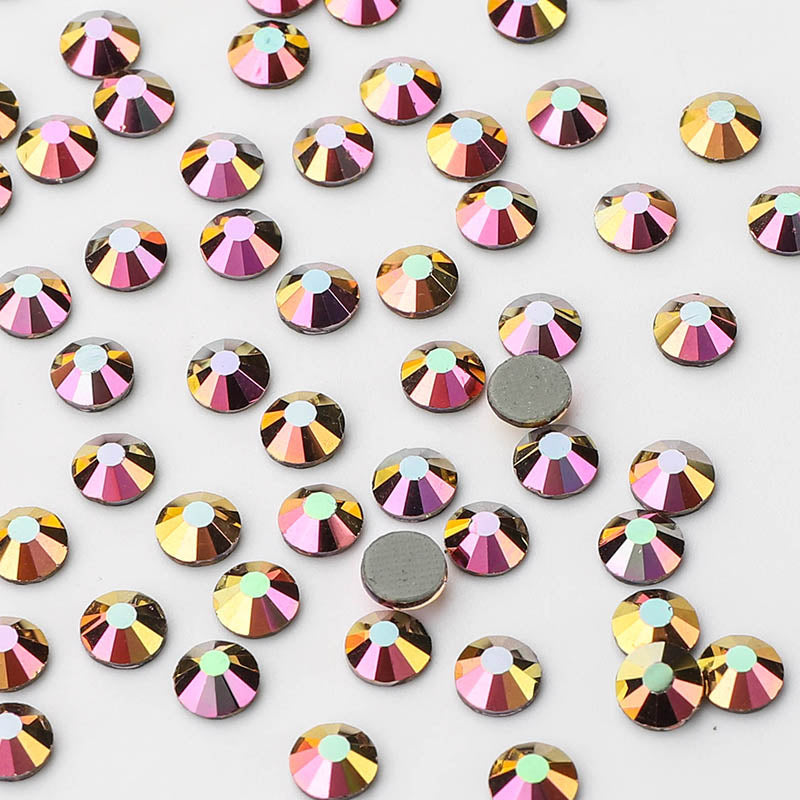 Rainbow Rose Gold HotFix Rhinestones Glass FlatBack Crystals