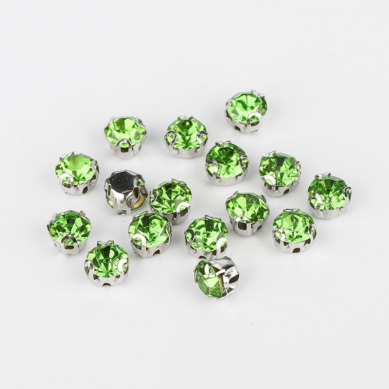 Light Green Sewing 3D Claw Rhinestones Silver Base