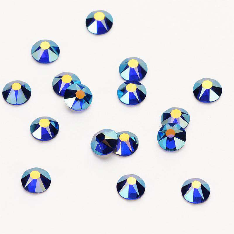 Sapphire AB Shimmer Flat Back No-HotFix Rhinestones 8 Big 8 Small Cut Facets - WholesaleRhinestone