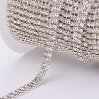 10 Yards Crystal Rhinestones Close Cup Chain -  2 Rows Silver Base