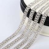 10 Yards Crystal Rhinestones Close Cup Chain -  3 Rows Silver Base
