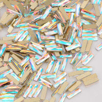 Rectangle Shape Crystal AB Flat Back Fancy Rhinestones - WholesaleRhinestone
