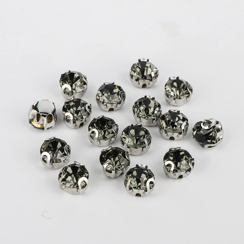 Black Diamond Sewing 3D Claw Rhinestones Silver Base