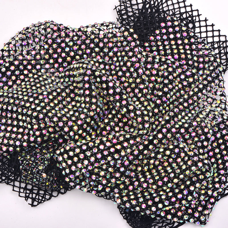 Crystal AB Rhinestones Mesh Fabric Sewing Elastic Trim - Black