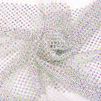 Crystal AB Rhinestones Mesh Fabric Sewing Elastic Trim - White