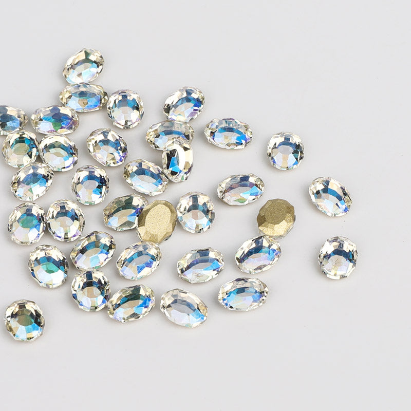 Blue Moonlight Magic Mirror Shape Flat Back Fancy Rhinestones For Nail Art