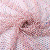 Crystal AB Rhinestones Mesh Fabric Sewing Elastic Trim - Pink