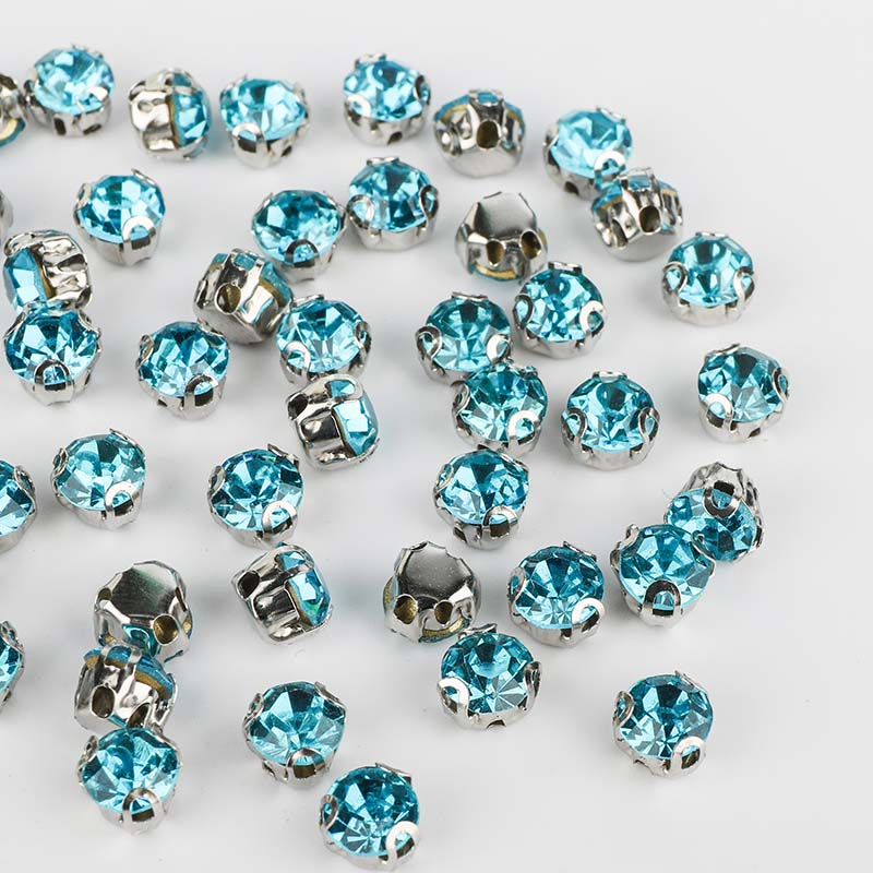 Aquamarine Sewing 3D Claw Rhinestones Silver Base