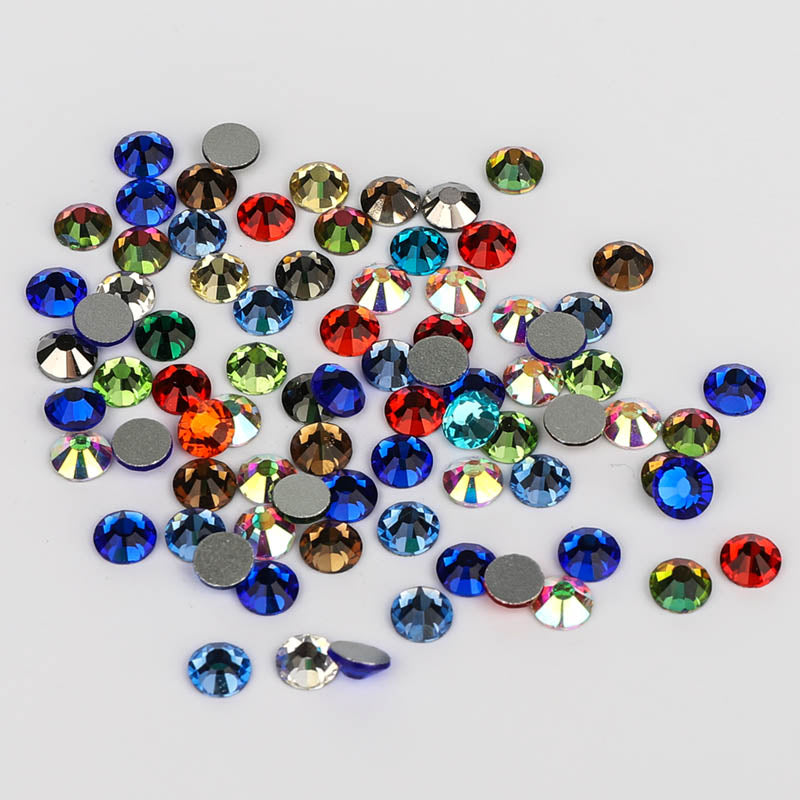 Mixed Colors Glass FlatBack Rhinestones, Silver Back