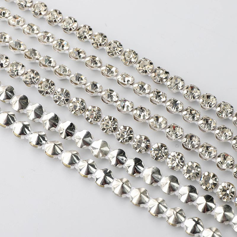 10 Yards Crystal Glass Rhinestones Banding 1 Row Round- Silver setting