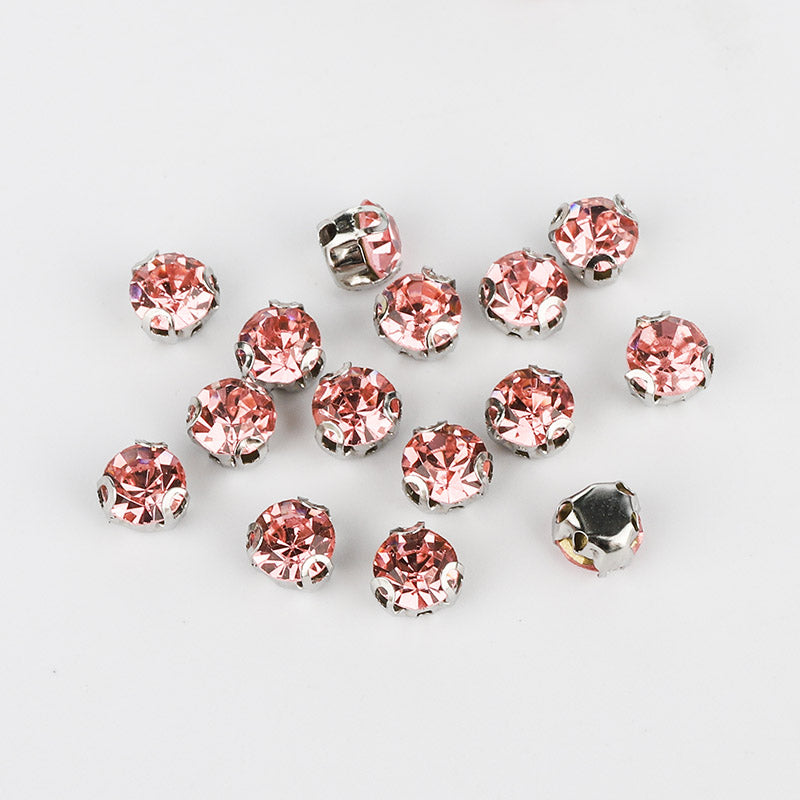 Light Pink Sewing 3D Claw Rhinestones Silver Base