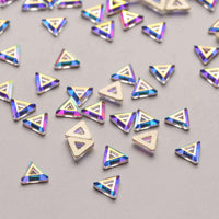 Triangle Hollow Shape Crystal AB Flat Back Fancy Rhinestones - WholesaleRhinestone