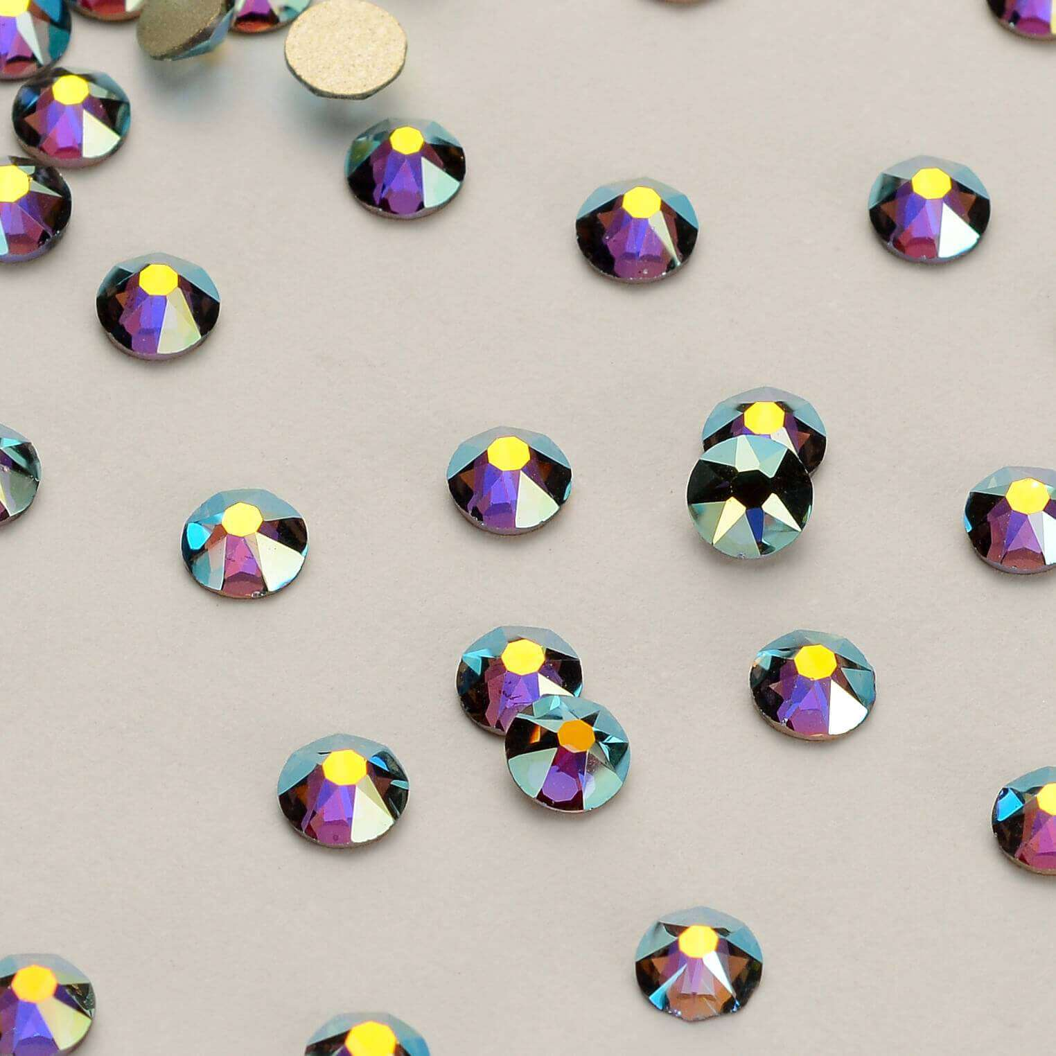 Black Diamond AB Shimmer Flat Back No-HotFix Rhinestones - WholesaleRhinestone