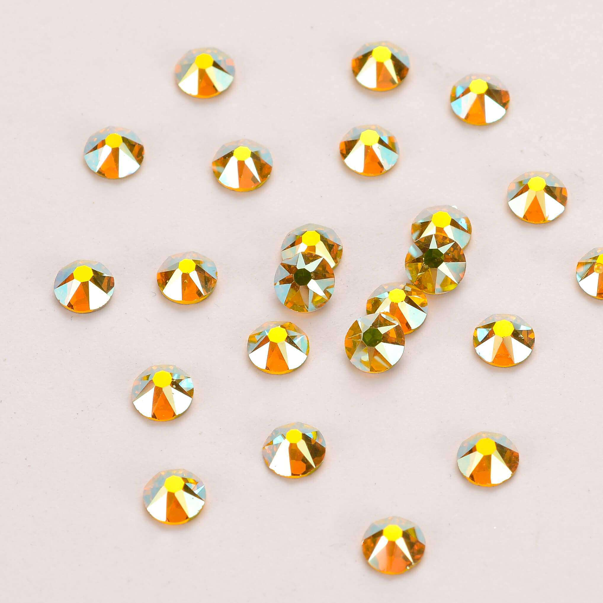 Citrine AB Shimmer Flat Back No-HotFix Rhinestones 8 Big 8 Small Cut Facets - WholesaleRhinestone