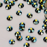 Jet Black AB Flat Back No-HotFix Rhinestones 8 Big 8 Small Cut Facets - WholesaleRhinestone