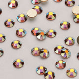 Light Colorado Topaz AB Flat Back No-HotFix Rhinestones 8 Big 8 Small Cut Facets - WholesaleRhinestone