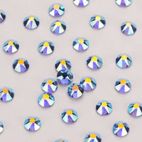 Light Sapphire AB Shimmer Flat Back No-HotFix Rhinestones 8 Big 8 Small Cut Facets - WholesaleRhinestone