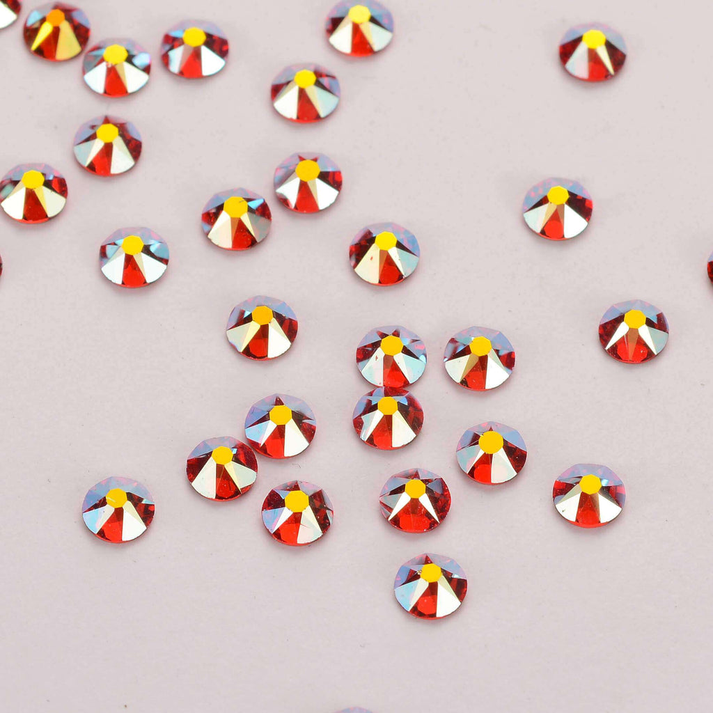 Light Siam AB Shimmer Flat Back No-HotFix Rhinestones 8 Big 8 Small Cut Facets - WholesaleRhinestone