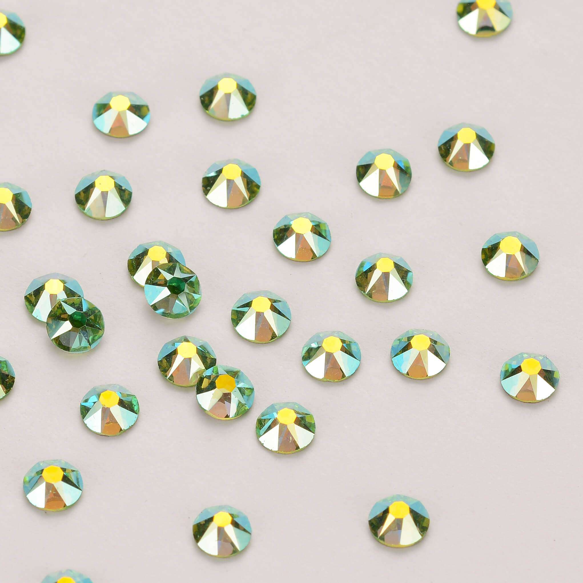 Peridot AB Shimmer Flat Back No-HotFix Rhinestones 8 Big 8 Small Cut Facets - WholesaleRhinestone