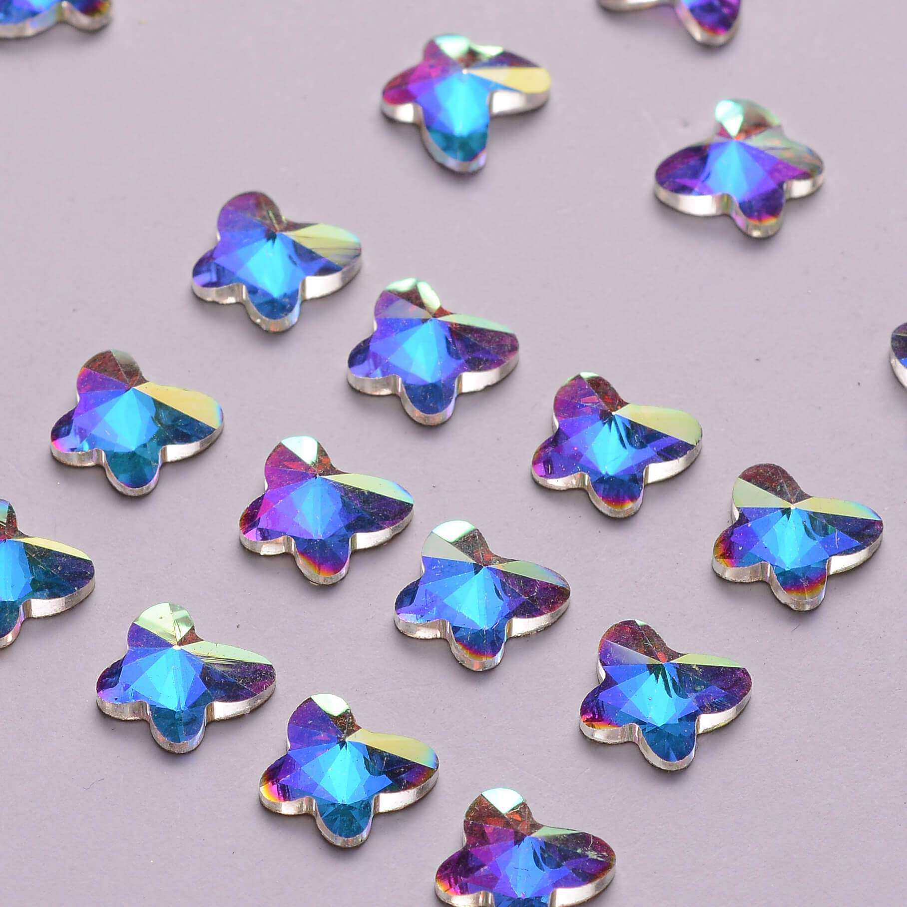 Butterfly Shape Crystal AB Flat Back Fancy Rhinestones - WholesaleRhinestone