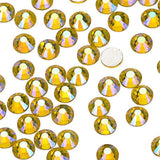 Lemon Yellow AB Glass FlatBack Rhinestones, Silver Back