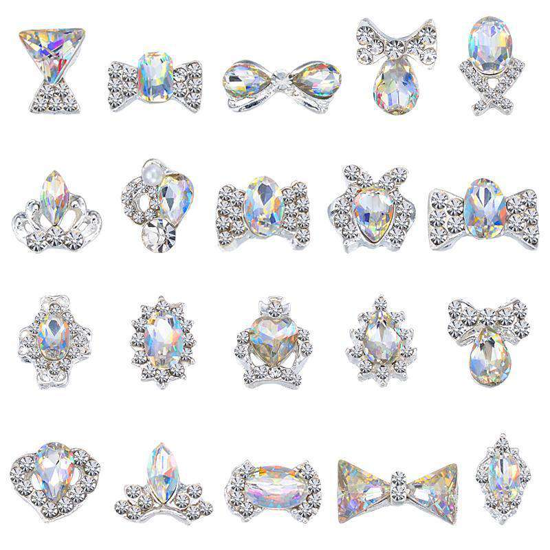 3D Alloy Nail Rhinestone Charms Crystal AB Nail Art Decorations JC21-JC40