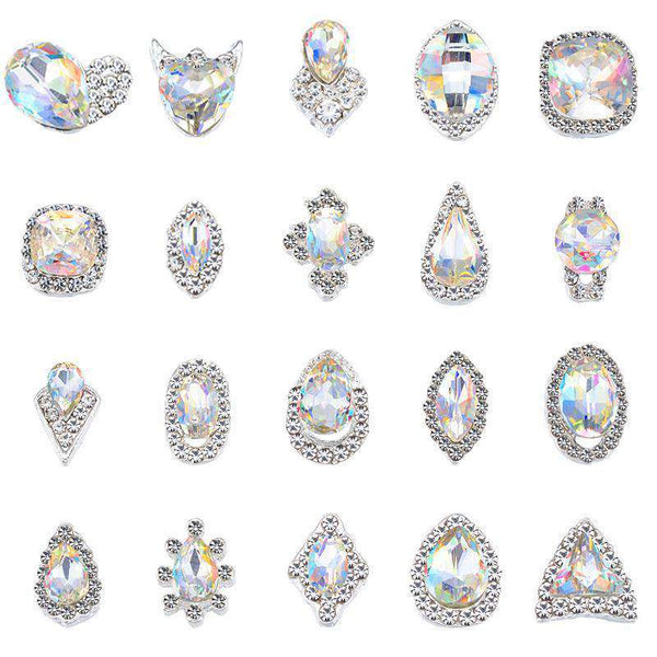 Alloy Nail Rhinestone Charms Crystal AB 3D Nail Art Decorations JC1-JC20 - WholesaleRhinestone