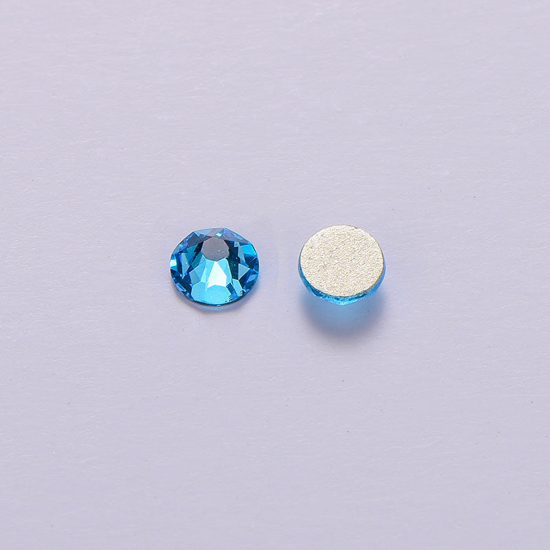 Aquamarine Flat Back Glue-on Rhinestones 8 Big 8 Small Cut Facets