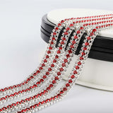 10 Yards Crystal & Red Rhinestones Close Cup Chain -  3 Rows Silver Base