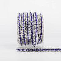 10 Yards Crystal & Sapphire Rhinestones Close Cup Chain -  3 Rows Silver Base