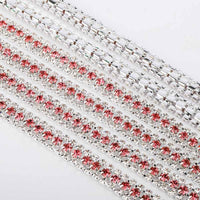 10 Yards Crystal & Rose Rhinestones Close Cup Chain -  3 Rows Silver Base