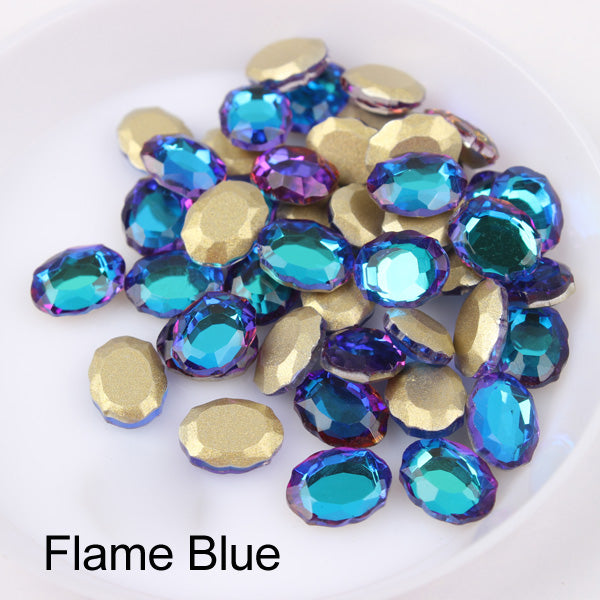 Blue Volcano Magic Mirror Shape Flat Back Fancy Rhinestones For Nail Art