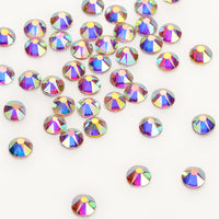 Crystal AB Glass Flat Back Glue-On Rhinestones 16 Cut Facets
