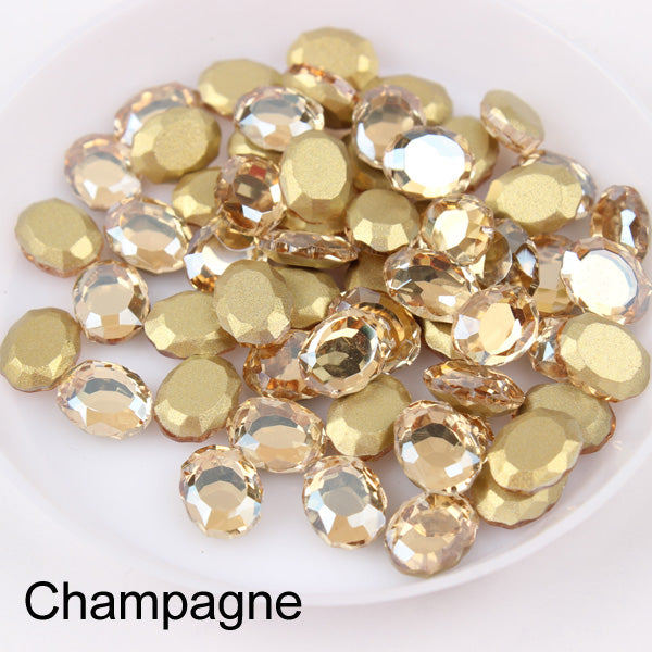 Champagne Magic Mirror Shape Flat Back Fancy Rhinestones For Nail Art