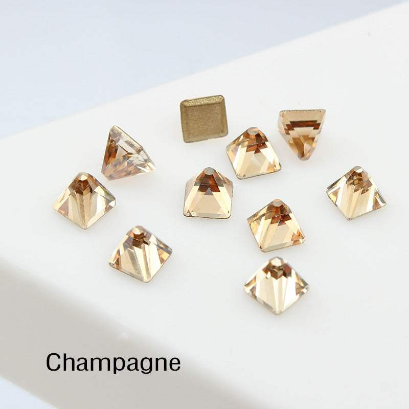 Champagne Square Cone Shape Flat Back Fancy Rhinestones For Nail Art