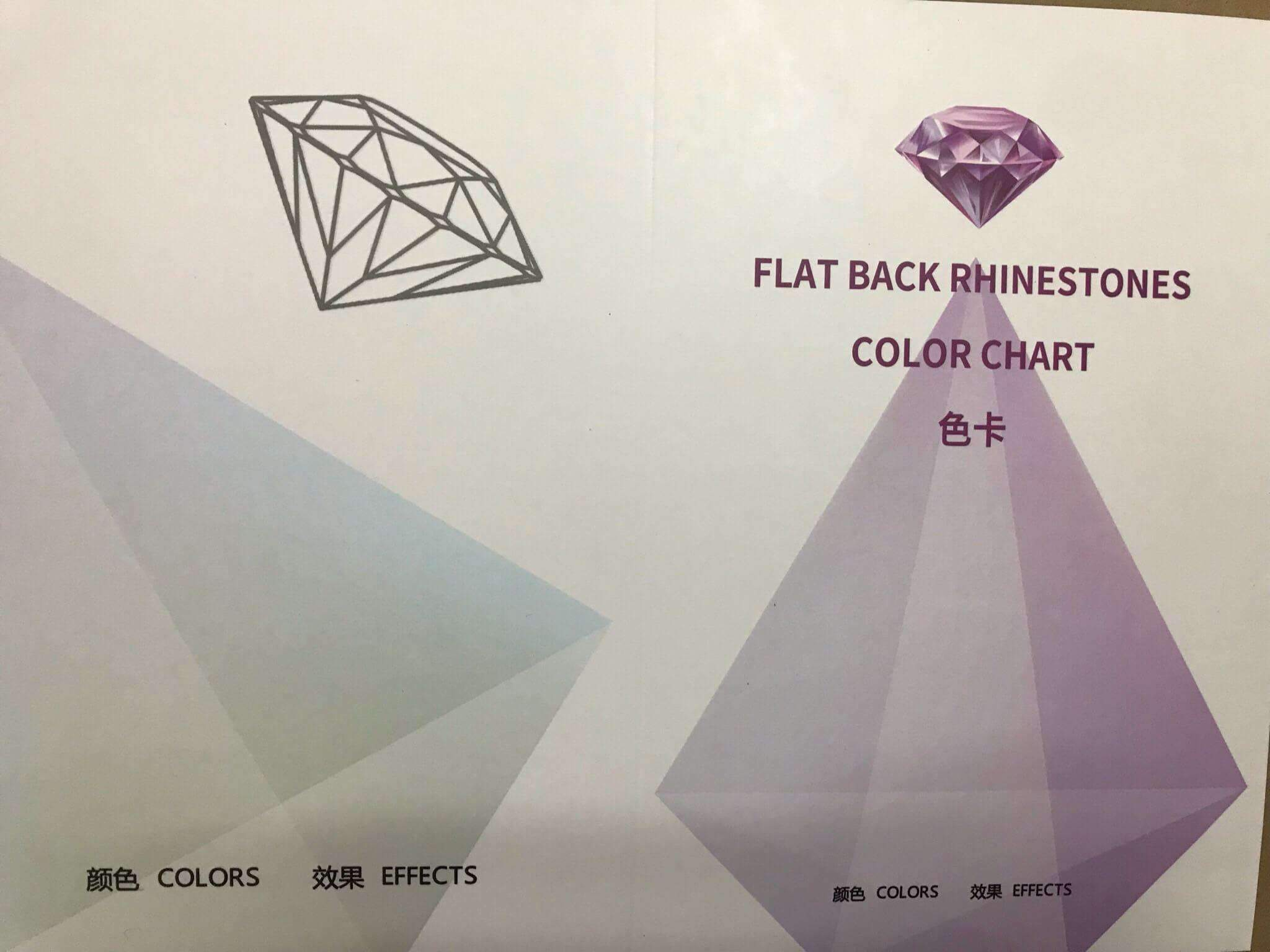 Glass Flat Back Rhinestones Color Chart -8 Big 8 Small - WholesaleRhinestone