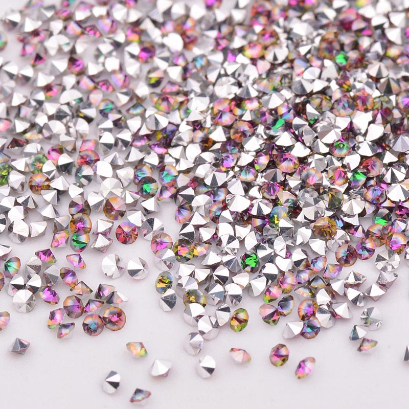 1.2MM Rainbow Glass Micro Pixie Pointed Rhinestones For Nail Art
